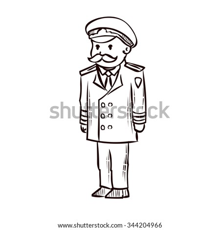 Naval officer. Admiral. Hand drawn cartoon vector illustration.