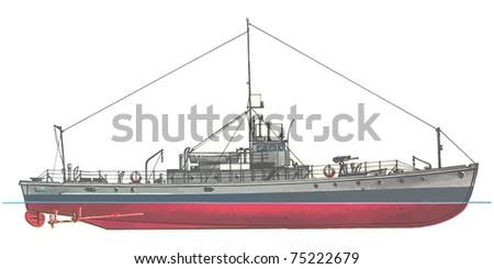 naval ship. vector - stock vector