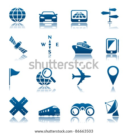 Navigation and transport icon set - stock vector