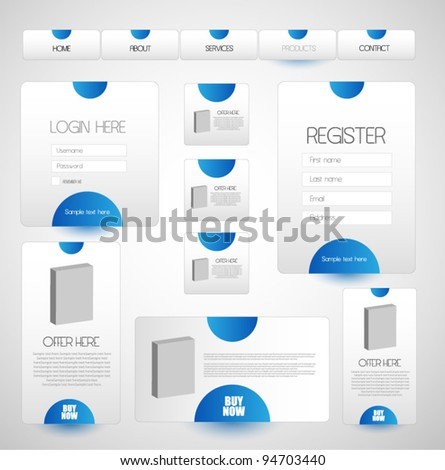 navigation bar with web elements - stock vector