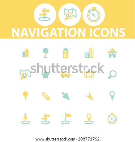 navigation colorful flat icons, signs, symbols set, vector - stock vector