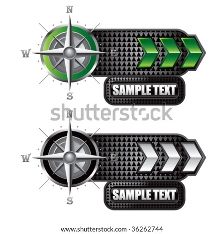 navigation compass on green and white arrow banners - stock vector