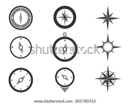 Navigation Compasses Icons set - stock vector