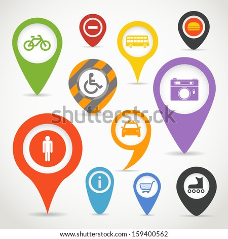 Navigation elements with transport icons - stock vector