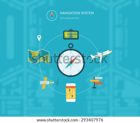 Navigation flat icons set with service search gps. System finding location. Vector illustration concept of  holding smart-phone with mobile navigation.  - stock vector