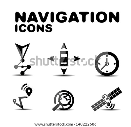 Navigation glossy black icon set. Illustration - stock vector
