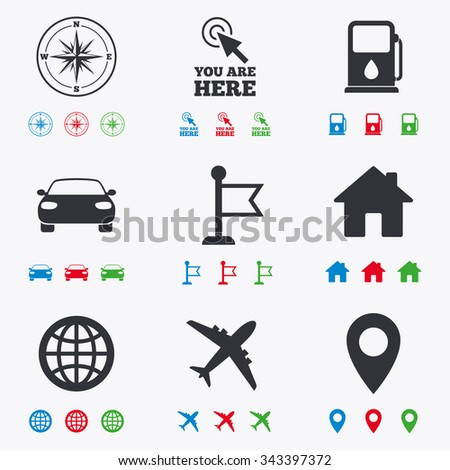 Navigation, gps icons. Windrose, compass and map pointer signs. Car, airplane and flag symbols. Flat black, red, blue and green icons. - stock vector