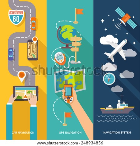 Navigation GPS routing system vertical  flat banners set with aircraft vessel position velocity detector abstract vector illustration