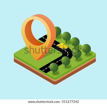 Navigation icon isometric plans, the direction of the pointer movement - stock vector