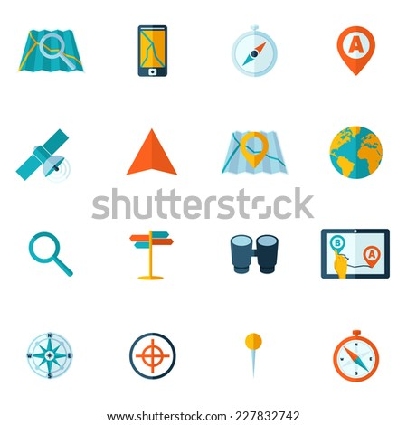 Navigation icons flat set of globe road map flag car compass flag isolated vector illustration - stock vector