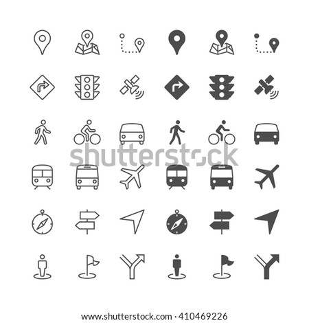 Navigation icons, included normal and enable state. - stock vector