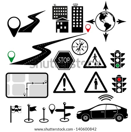 Navigation icons set. Road Signs Vector Illustration - stock vector