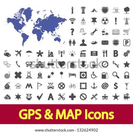 Navigation map icons set. Vector illustration. - stock vector