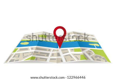 Navigation map with pin pointer. Vector illustration - stock vector