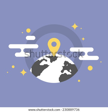 Navigation mark on a world map, global office location, business placement pointer. Flat icon modern design style vector illustration concept. - stock vector