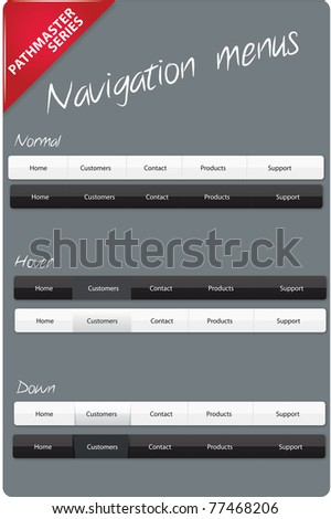 Navigation menus - Pathmaster series - stock vector