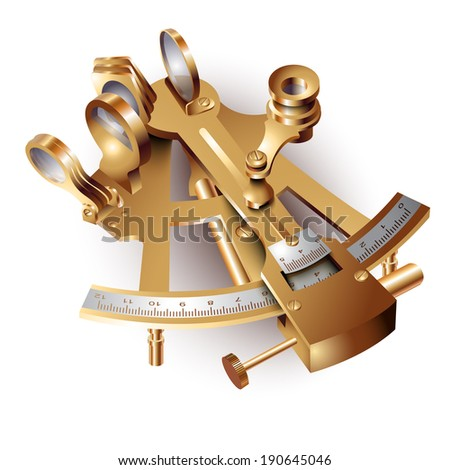 Navigation sextant, isolated on white background. Vector illustration  - stock vector