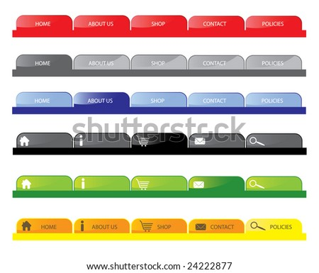Navigation Tabs for Web sites. Easily editable for color. - stock vector