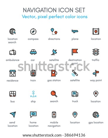 Navigation theme line icon set. Pixel perfect fully editable vector icon suitable for websites, info graphics and print media. - stock vector