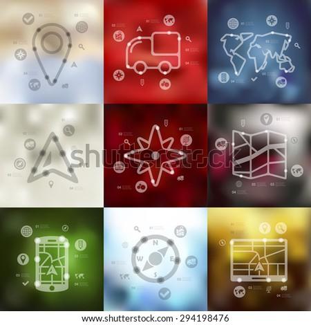 navigation timeline presentations with blurred unfocused background - stock vector