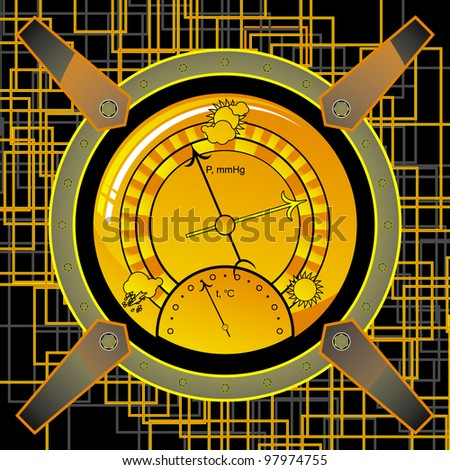 navigational instrument - the barometer in the style of steampunk on an abstract background