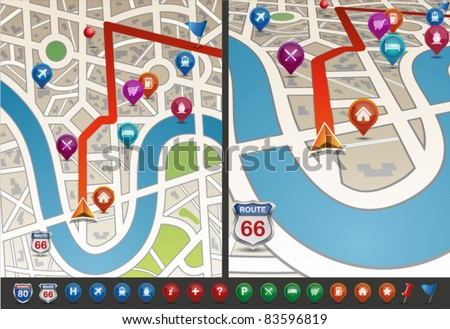 Navigational Map with Icons. Vector Illustration. - stock vector