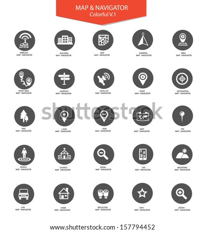Navigator and map icons,Gray version,vector - stock vector