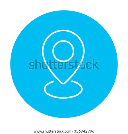 Navigator guide itinerary line icon for web, mobile and infographics. Vector white icon on the light blue circle isolated on white background. - stock vector