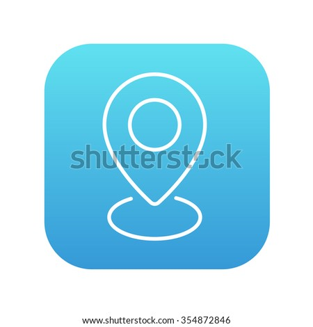 Navigator guide itinerary line icon for web, mobile and infographics. Vector white icon on the blue gradient square with rounded corners isolated on white background. - stock vector