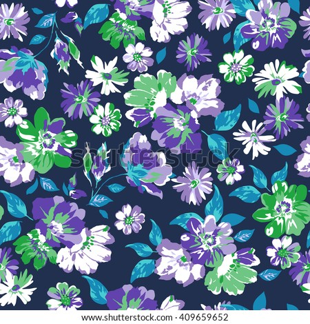 navy and blue flower print ~ seamless background - stock vector