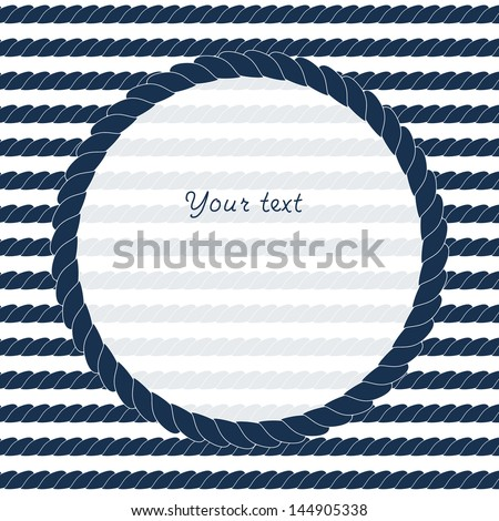 navy blue and white circle rope frame background for your text or image vector