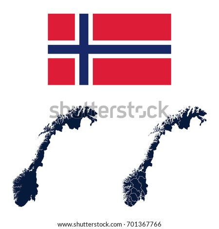Blank Detailed Contour Maps Norway Vector Stock Vector - Norway map eps