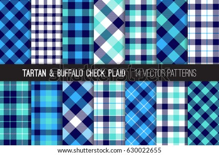 Navy Blue White Aqua Blue Tartan Stock Vector 630022655