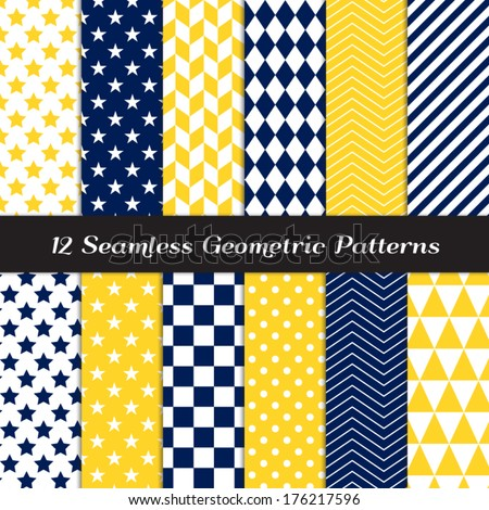 Navy Blue, Yellow and White Geometric Seamless Patterns. Nautical Backgrounds in Diamond, Chevron, Polka Dot, Checkerboard, Stars, Triangles, Herringbone & Stripes. Pattern Swatches with Global Colors - stock vector