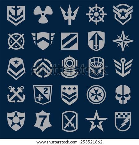 Navy military symbol icons - stock vector