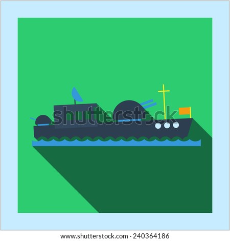 Navy sea warship button with icon photo frame card in flat style with long shadow, for web, war and military design - stock vector