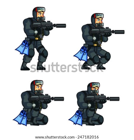 Navy Seal Crouching Sprite - stock vector