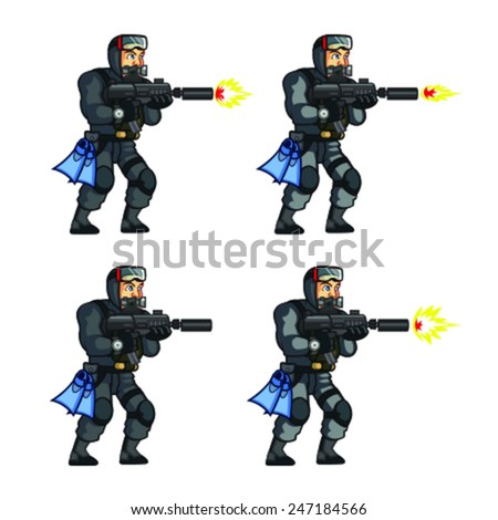 Navy Seal Shooting Sprite - stock vector