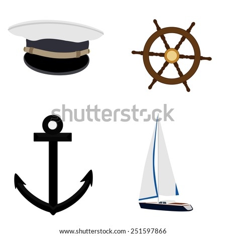 Navy vector icon set- luxury, race yacht, ship wheel, captain hat and anchor - stock vector
