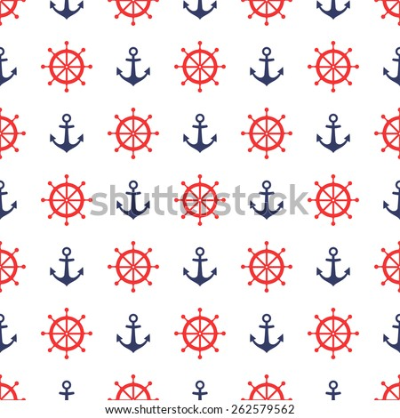 Navy vector seamless pattern: anchor and steering wheel. Cute nautical background. - stock vector