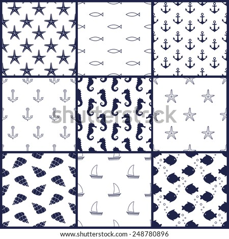 Navy vector seamless patterns set: anchor, starfish, fish, seahorse, sailboat, shell. Cute nautical backgrounds. Marine life Background Collection. Baby shower vector illustration. - stock vector