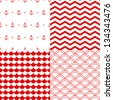 Navy vector seamless patterns set in red and white: scallop, waves, anchors, chevron - stock vector
