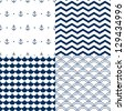 Navy vector seamless patterns set: scallop, waves, anchors, chevron - stock photo