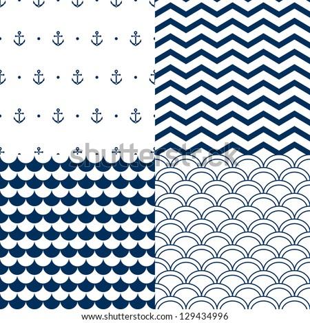 Navy vector seamless patterns set: scallop, waves, anchors, chevron - stock vector