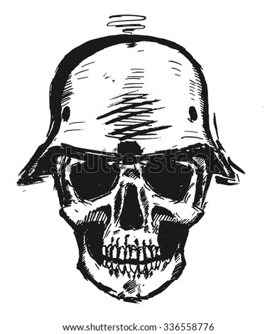 Nazi scull in army helmet - stock vector