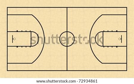 NBA basketball court - stock vector