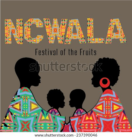 Ncwala. Fruits Festival. Happy Ncwala decorative greeting card. - stock vector