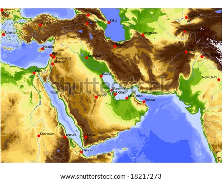 Near East from Egypt to Pakistan. Physical vector map, colored according to elevation, with rivers, ocean depths and important cities. 31 layers, fully editable. Data source: NASA - stock vector