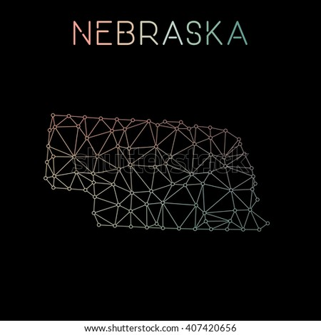 Nebraska network map. Abstract polygonal US state map design. Network connections vector illustration. - stock vector