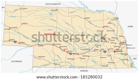 nebraska road map - stock vector